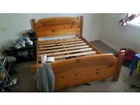 King size solid pine bed