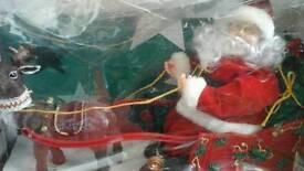 Vintage Christmas lights and santa and slay musical/movement