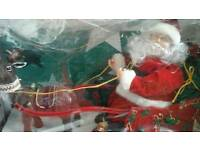 Vintage Christmas lights and santa and slay musical/movement