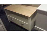 1 DRAWER 1 SHELF COFFEE TABLE TV STAND WHITE/OAK VENEER