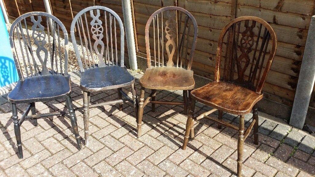 Vintage Wooden Wheelback Chairs