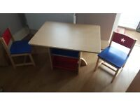 Kids Wooden Play Table and Chairs Set With 4 Storage Boxes