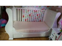 Tutti Bambini Cot bed in gloss white with sheets, quilts, bumper, mattress & topper