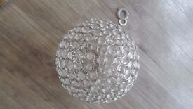 Chrome and glass 'sparkling' large ball pendant