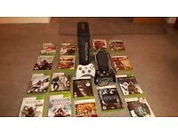 Xbox 360 Elite with 120Gb harddrive with 2 controllers and 18 games