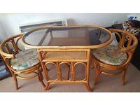 Bistro style wicker conservatory/garden/balcony set