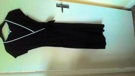 SIZE 10 BLACK WRAP FRONT DRESS BY M&CO BRAND NEW