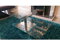 Glass Coffee Table - two level, with Chrome stand