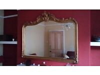 Gorgeous ornate classic antique-style gold Laura Ashley overmantle mirror