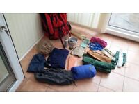 Backpacking Equipment including rucksac, tent, sleeping gear including cooking equipment