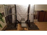 Squat rack, bench , olimpic bar, gold's gym weights