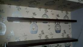 3 x dark wood floating shelves