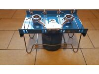 Camping Gaz Tranant (double ring stove) with two full Camping Gaz 907 cylinders