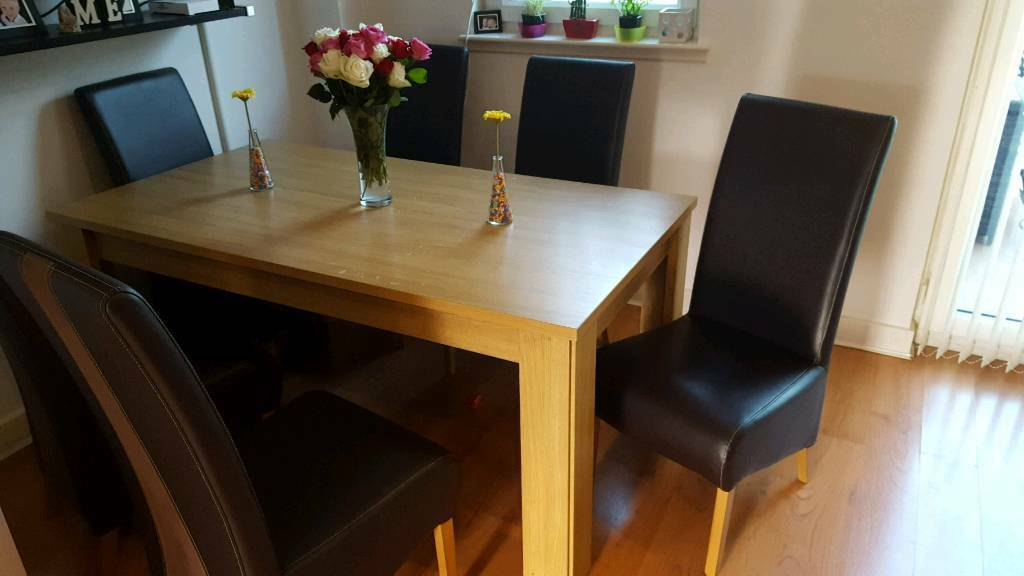 Large table with six chairs