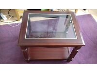 Solid Wood Small Coffee Table With Glass