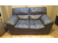 Dark brown leather sofas, 2 seat and 3 seat