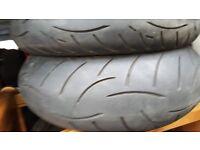 used motorbike tyres 190-55-17 -120-70-17 metzeler roadtec z8 tyres . less than 600 miles