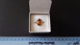 Ladies Amber ring (size approx M) Amber Crystal/Stone Spiritual, Wicca, Healing