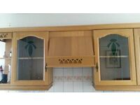 Range of kitchen base and wall units with Oak doors/drawer fronts and worktops