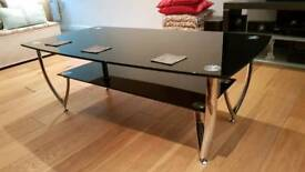 Large Black and Clear Glass Chrome Coffee Table with Lower Shelf Living Room