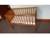 Wooden Baby Crib, Mattress & Bedding