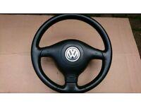 VW Golf Bora Passat Sharan sport 3 spoke leather steering wheel with air bag
