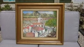 LARGE SPANISH LANDSCAPE SCENE OIL PAINTED ON CANVAS AND SIGNED BY ARTIST DAVID AMOS - VERY COLOURFUL