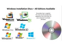 Windows (Any Version) Installation/Reinstallation Disc - No Product Key Supplied