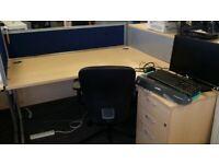 Single L shape office/business computer desk/table, maple finish, £90 each desk