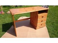 Pine desk with 3 built in drawers
