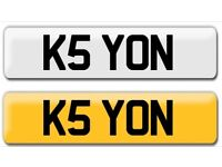 Cheap bargain 5 digit K5 YON private cherished personalised personal registration plate number