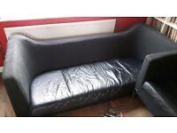 Retro ikea black leather/fabric 3 seater sofa