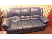 ***** Blue Leather Sofa Set - Great Bargain********Dont miss it.