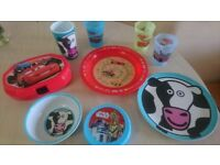 Boys Disney Cars, Star Wars plates, bowl, lunch box, cups, containers
