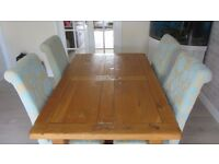 Solid oak table and 4 chairs - oak rustic effect table and 4 chairs with duck egg blue pattern