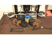 Multi gym weight bench with 3 bars and 5 lat tower bars with 200kg