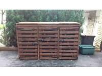 Wooden Wheelie Recycling Garden Bin Storage Unit - Dark Oak