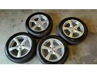 New 15 inch alloys and tyres 4 x 100 vauxhall corsa vw polo