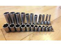 Snap on imperial socket set, deep and shallow