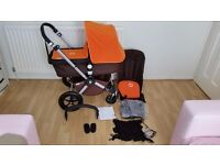 Bugaboo cameleon with orange and brown