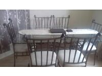 6 seater glass dining table & matching chairs