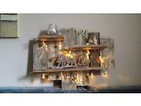 bespoke rustic handmade reclaimed pallet wood wall art shelf unit inc. moroccan lights