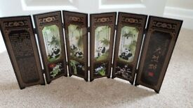 GIANT PANDA CHINESE 6 PANEL SCREEN SHU LIN GONG YI BOXED