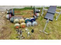 Gym equipment (weight bench, weights, bars etc)