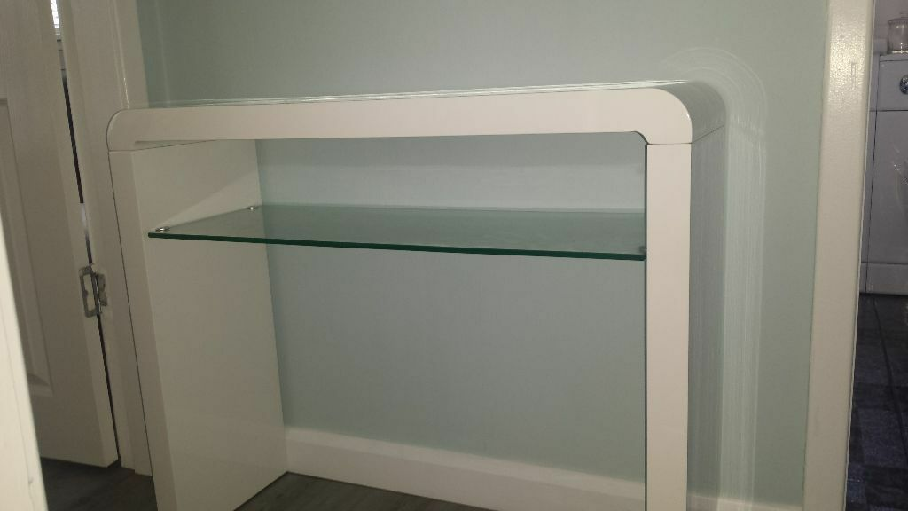 White High Gloss Console Table With Gl Shelf