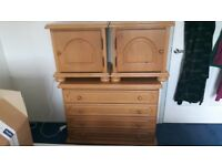 Solid Wood 4 draw chest and matching bedside cabinets