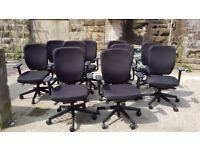 16 - SENATOR DASH TASK CHAIRS - REUPHOLSTERED IN BLACK - 5 YR GUARANTEE - WE CAN DELIVER