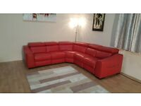 New Elixir bright red leather electric recliner corner sofa