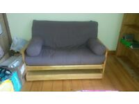Two-seater/Double Wooden Futon Sofa Bed
