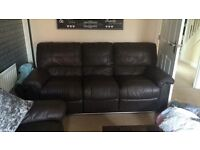 BROWN LAND OF LEATHER RECLINER SOFAS £150